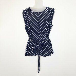 LOFT XL Top Striped Blue White Sleeveless Blouse